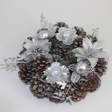 Pine Cone Candles Christmas Table Decoration 20cm Dressed Silver Candle Ring Holds 2