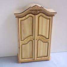 unfinished dollhouse furniture. Unfinished-Wood-Armoire-Wardrobe-Brass-Knobs-Dollhouse-Miniature- Unfinished Dollhouse Furniture