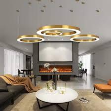 Gold Mode Moderne Led Pendelleuchten Ringform Acryl