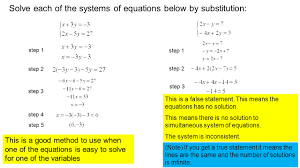 solve each of the systems of equations below by substitution step 1 step 2 step