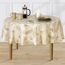 boxed fern flannel backed vinyl tablecloth indoor outdoor 60 inch round taupe kitchen dining 67dorj5hc