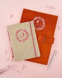 diy monogram leather notebooks custom vinyl monograms applied to leather free silhouette and cricut