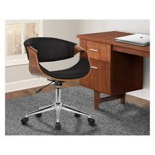 mid century desk chair. Geneva Mid-Century Office Chair In Chrome Finish With Black Faux Leather And Walnut Veneer Arms - Armen Living : Target Mid Century Desk Y