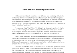 larkin and abse on relationships the essay will discuss this  document image preview