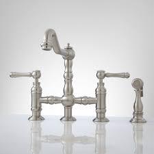 Brushed Nickel Faucet Kitchen Delilah Deck Mount Bridge Faucet With Side Spray Lever Handles