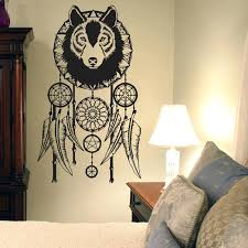 wolf wall decor wolf dream catcher wall stickers vinyl removable home decor stickers living room wall wolf wall decor