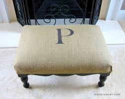 diy upholstery monogrammed burlap ottoman tutorial on madeinaday