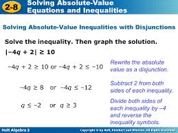 14 solving absolute value inequalities with disjunctions