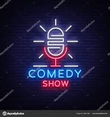 Logo Stand Light Comedy Show Stand Up Invitation Is A Neon Sign Logo Emblem