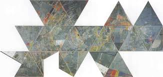 jasper johns map made of encaustic pastel and collage on canvas 22 parts