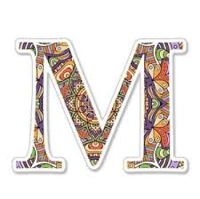fancy letter m m letter ornamental mandala fancy font vinyl sticker select size