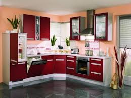 kitchen color decorating ideas. Fun Kitchen Decorating Ideas Using Modern Interior With Grey Ceramic Floor And Maroon Cabinet Sandy Coral Wall Color E