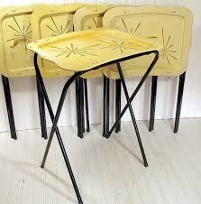 Decorative Tv Tray Tables Vintage Metal Tray Tables Set Of 100 Retro Atomic Black Yellow 72