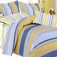 golden blue stripes 100 cotton 4pc duvet cover set queen size