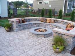 paver patio. Unique Patio Paver Patio With Firepit And All Around Sitting Wall Throughout R