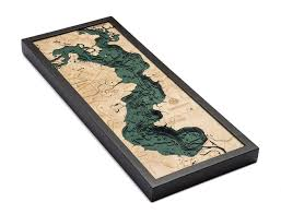 Lake Houston Texas Wood Carved Topographic Depth Chart Map