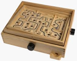 Wooden Maze Game With Ball Bearing