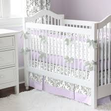 lilac and gray traditions damask crib bedding