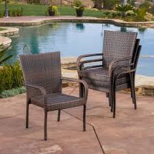 overstock patio dining chairs. outdoor pe wicker stackable arm club chairs (set of 4) by christopher knight home overstock patio dining t