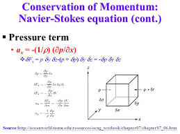 conservation of momentum navier stokes equation cont
