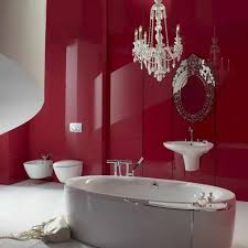glamorous red paint ideas for large bathroom design idea plus freestanding tub and wall mount bidet
