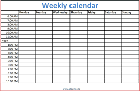 Weekly Calendars With Hours 10 Weekly Calendars With Times Resume Samples