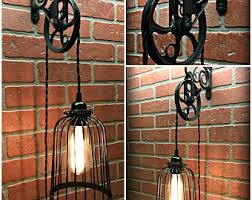 pulley lighting. cool black bird cage wall pulley light industrial farmhouse steampunk lighting