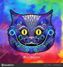 глава чеширского кота из сказки алиса в Wonde векторное