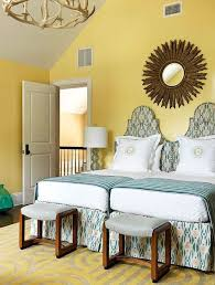 View In Gallery Two Twin Beds Pushed Together In Yellow Room