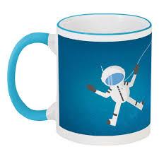 Кружка с цветной ручкой и ободком <b>Космонавт</b> в открытом ...