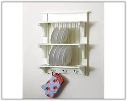 small sized stainless steel wall mounted dish drying racks along with glove hooks underneath