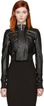rick owens black leather glitter cropped jacket women rick owens adidas on feet