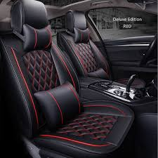 5 seat pu leather full set car seat cover cushion pad 3d surround breathable red large com