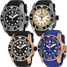 invicta pro diver black dial black rubber mens watch zoom