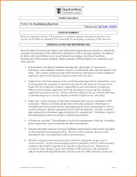 Housekeeping Sample Resume Job Description Hotel Duties Hospital