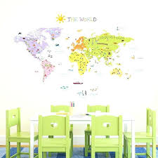 world map decal large wall decor bedroom stunning kids room decals large with world map decal