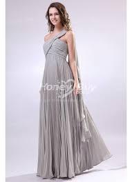 shoulder ruched light grey chiffon bridesmaid dresses