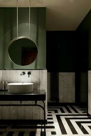 Dark things || Bathroom ideas. Bold colors. Olive Green / Black ...