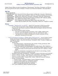 Sample Qa Analyst Resume Under Fontanacountryinn Com