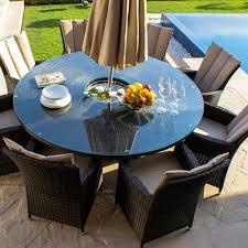 garden furniture. Maze Rattan LA 8 Seat Round Garden Furniture Set With Ice Bucket