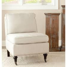 safavieh randy off white linen slipper chair