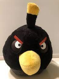 "Angry Birds Plush Black Bomb Bird Toy Stuffed Animal 8"" with Sound"