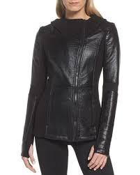 blanc noir black faux leather hooded moto jacket lyst