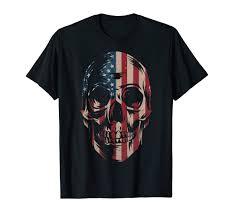 Design Skull T Shirt Amazon Com American Flag Skull T Shirt Patriotic Design