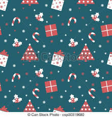 Merry Christmas And Happy New Year Winter Holiday Background Cute Seamless Pattern With Red And Blue Colors
