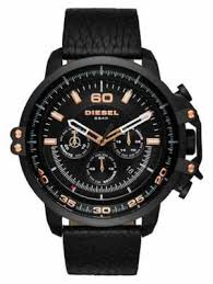diesel watches official uk retailer first class watches diesel mens black leather strap black chronograph dial black case dz4409