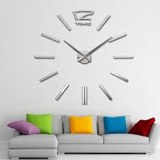 vova digital diy wall clock modern art acrylic 3d mirror sticker home office decor