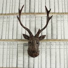 wall mounted brown stag deer head shabby vintage chic country home gift figure