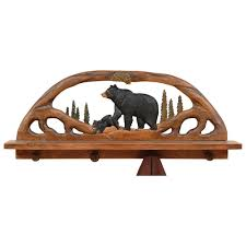 Black Wall Coat Rack Black Bear Wood Shelf Coat Rack 55