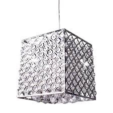 modern carved metal and crystal square pendant lighting 9318